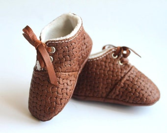 3 - 6 Months Slippers / Baby Shoes Soft Sole Lamb Leather Brown Marrown