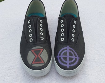 Black Widow and Hawkeye logo shoes