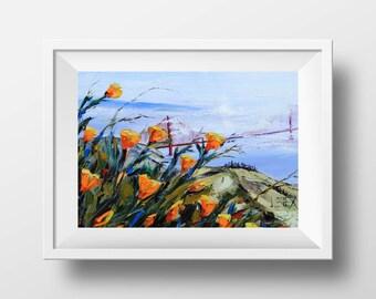 San Francisco Print, Giclee, Golden Gate Bridge from the Marin Headlands, Palette Knife Artwork in oil by Award Winning Artist Lisa Elley