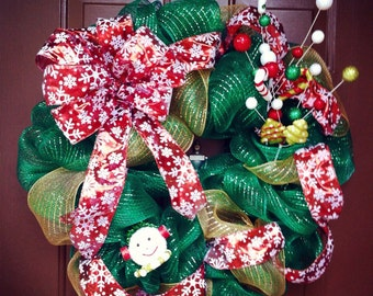 Christmas Snowman/Candy Cane Wreath with Snowflake Bow