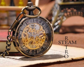 10% off sale17 Men Vintage Pocket Watch Antique Watch Mechanical Hand Wind Skeleton Watch, Steampunk; Gift for Him, Anniversary, Weddings