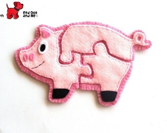 Pig 3 Piece Jigsaw Puzzle Easy Hand Sewing PDF Toy Pattern Soft Toy Animal