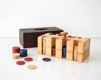 poker caddy, poker chips, poker chip holder, wonderful antique wooden poker chip caddy with wood poker chips and lid, antique card games