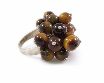 Sterling Silver and Tiger's Eye Cluster Beaded Ring - Size 7