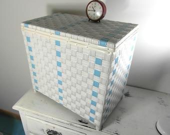 mid century woven vinyl laundry hamper bedding box side table seat