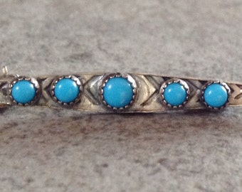 Native American Vintage Zuni Petit Point Turquoise Sterling Silver Pin