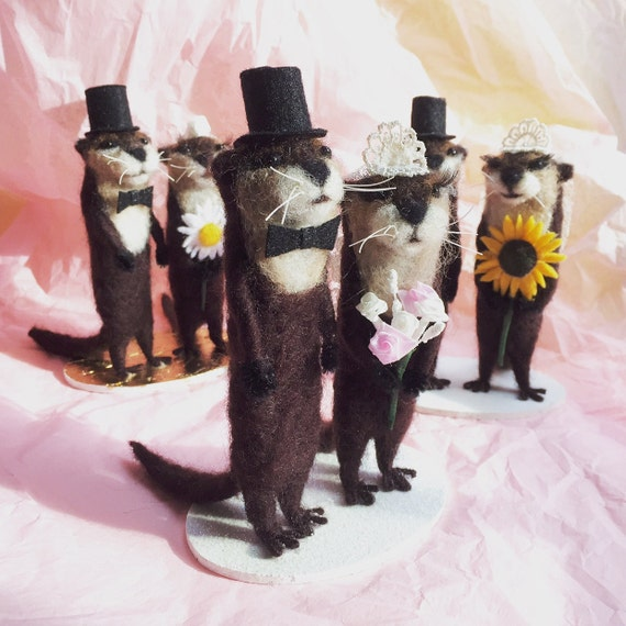 Needle Felted Otter Wedding Cake Topper By Faccidesigns On