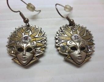 Beautiful Pewter Look Pierced Earrings - Masked Woman With Headdress