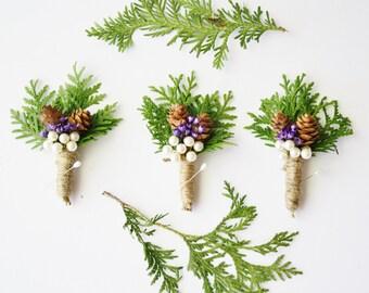 Rustic Boutonniere Winter boutonniere Woodland wedding boutonniere Groomsmen buttonhole flower pinecone boutonniere winter wedding SNOW