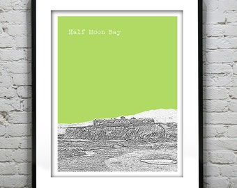 1 Day Only Sale 10% Off - Half Moon Bay Skyline Poster Print Art California CA Version 2
