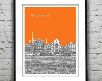 Willemstad, Curaçao Poster Art Print City Skyline Version 1