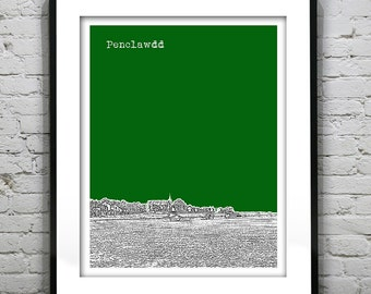 Penclawdd Wales Poster  Art Print UK Wales United Kingdom