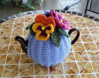 PANSIES & PERIWINKLE Handmade Tea Cozy for 4 to 6-cup Teapot