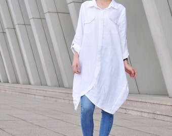 Irregular Spring Dress Plus Size Shirt Long Sleeves Tunic Dress (094)