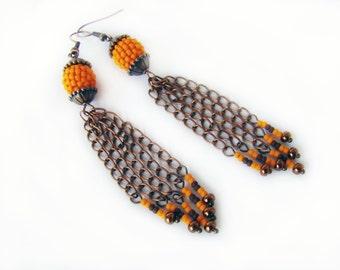 Beaded dangle earrings Seed bead earrings Bead ball earrings Tassel earrings Orange purple earrings Long chains earrings Bright Girl gift
