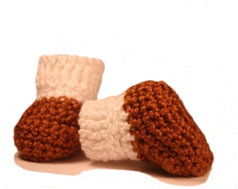 White and Brown Baby Booties - Crochet Baby Booties - Baby Boy Booties