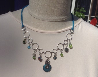 Charm and Bead Necklace Teal Green