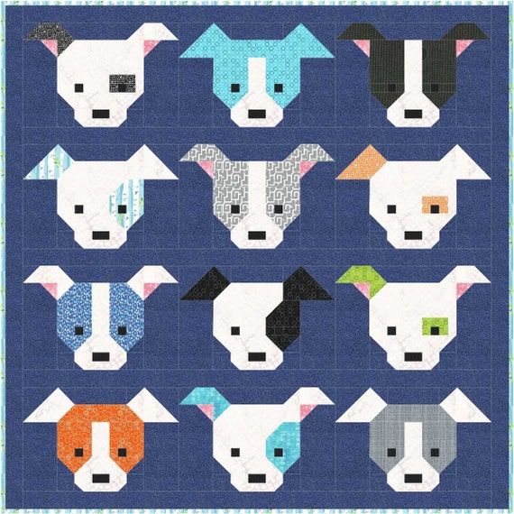 Dog Quilt Pattern Pdf Instant Download Modern By