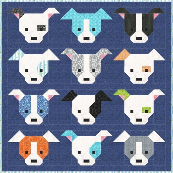 Dog Quilt Pattern, PDF, Instant Download, modern patchwork, dog, puppy, cute, mini quilt