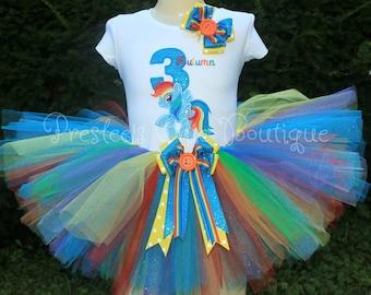 Rainbow Dash, My Little Pony Birthday tutu set! Perfect for a My Little Pony Birthday party or for pictures!