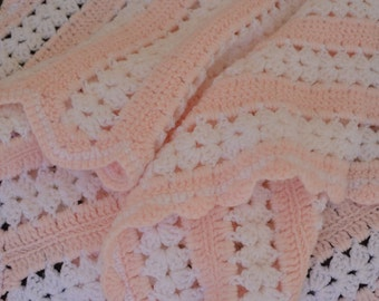 Pink and White Stripe Hand Crochet Baby Blanket