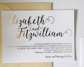 Custom Gold Foil Script Wedding Invitation