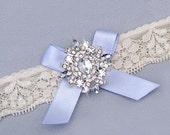 Blue Wedding Garter, Crystal Rhinestone Bridal Toss Garter, Something Blue Garter, Ivory / White Stretch Lace Garter, Single Garter with Bow