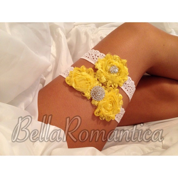 Items Similar To Yellow Bridal Garter