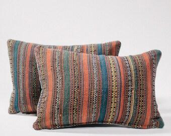 Multicolor Striped Vintage Kilim Kidney Pillow
