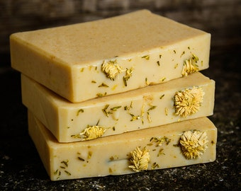 Handmade Natural Soap with extra gentle Chamomile and Goat's milk,  a facial soap for sensitive or dry skin.