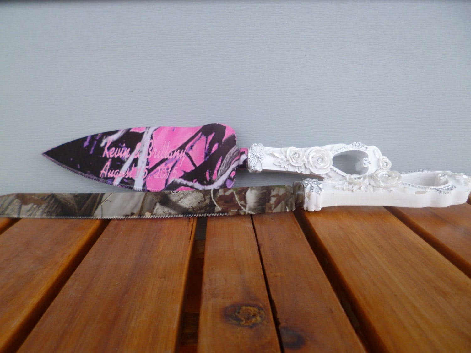 Rustic Camo Wedding Cake Serving Set In Muddy Girl And Next