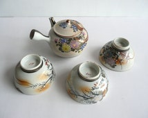 Set of a tea pot and 3 tea cups - Japanese antique - Kutani ware - flowers and snow flakes - WhatsForPudding #1090