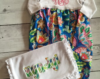 Baby Gown With Matching Burp Cloth Monogram Applique Bright Fun Colors Great Gift