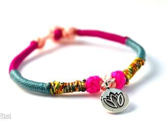 Bracelet green lotus pink silver