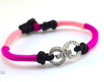 Bracelet fuchsia silver rings
