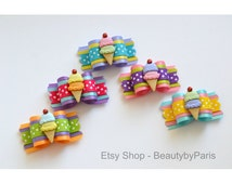 """Double Scoops 7/8""""  Party/Birthday Dog Bow"""