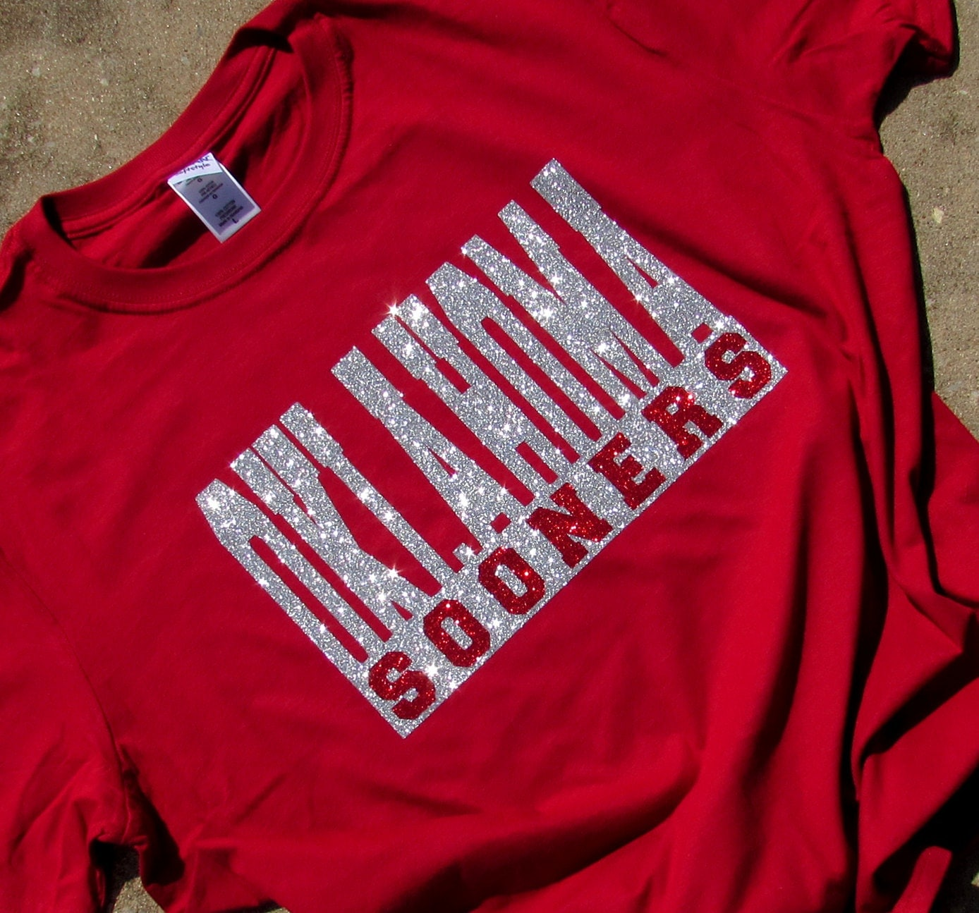 University of oklahoma bling crimson red short sleeve t shirt for University t shirts with your name