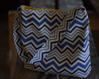 Slouch Bag in Blue Chevron Print