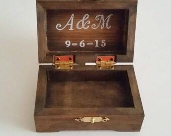 Ring Bearer Box, Wooden Ring Bearer Box, Custom, Ring Box, Initials, Wedding Date, Personalized Ring Bearer Box, Ring Box with initials