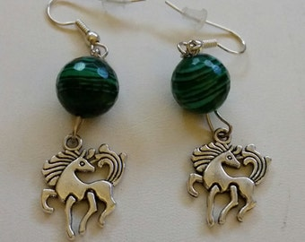 Horse Earrings with green beads