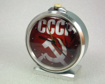 WORKING !!!  Vintage Russian Mechanical Alarm Clock Slava from Soviet Union Period with changed dial  CCCP