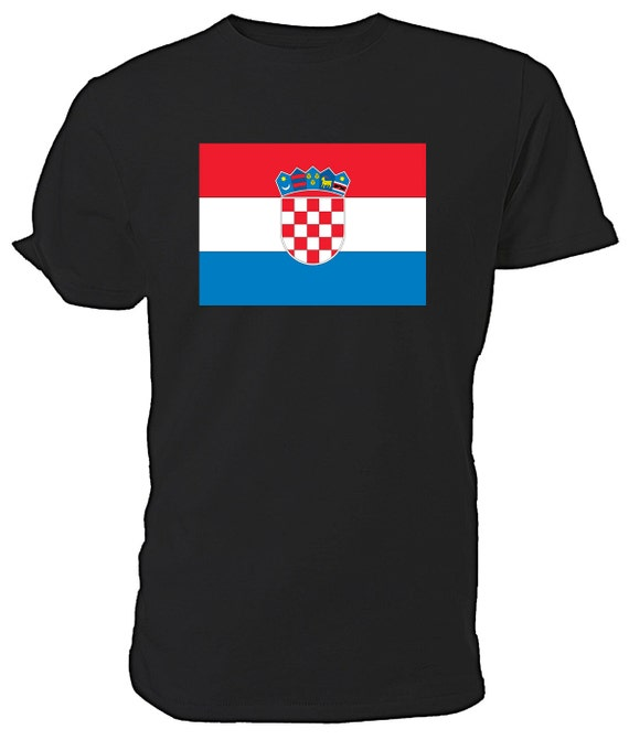 Croatian Flag  T shirt. classic round neck short sleeved choice of sizes and colours,