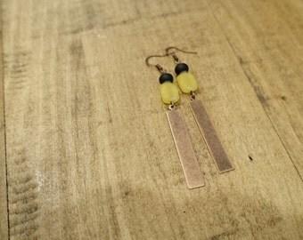 Yellow Agate Tribal Inspired Earrings