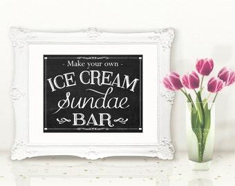 INSTANT DOWNLOAD Printable Chalkboard Ice Cream Sundae Bar Sign
