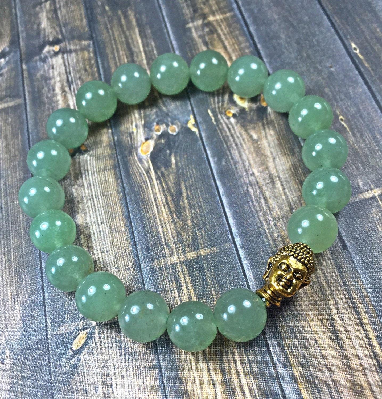 Jade Bracelet Beads: Jade Buddha Bracelet Mens Beaded Bracelet Stretch Bracelet