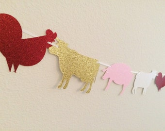 Farm Animal Banner ; Barn Yard Birthday Party ; Farm Birthday Decorations ; Birthday Garland