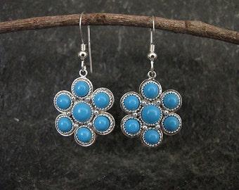 Turquoise earrings,Turquoise silver earrings,Silver earrings, Israel jewelry, Yemenite earrings,Ethnic earrings,Flower earrings