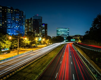Long exposure of traffic on US 50 at night, in Arlington, Virginia - Urban Photography Fine Art Print or Wrapped Canvas