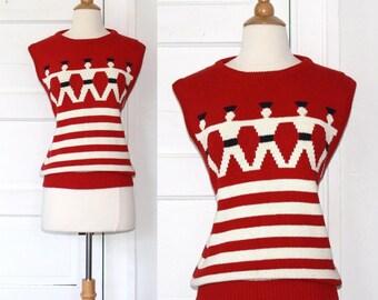 80s nautical striped sailor sweater - medium large or xl