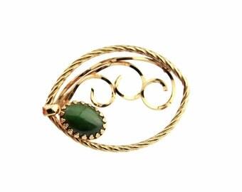 Jade 1/20 12k Gold Filled Brooch - b16
